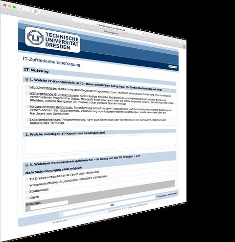 Bildschirmfoto zur TUD-IT-Zufriedenheitsumfrage 2019