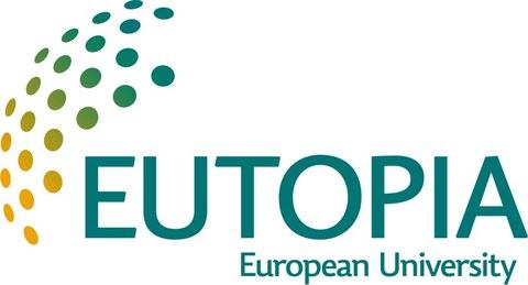 """Schriftzug """"Eutopia - European University"""" und Grafik bestehend aus farbigen Punkten"""