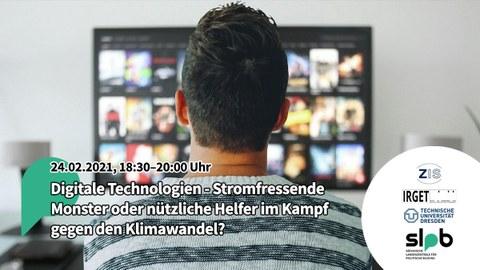 Ein junger Mann wird von hinten gezeigt, wie er vor einem Bildschirm sitzt, auf dem verschwommen die Seite eines Streaming-Dienstes angezeigt wird.