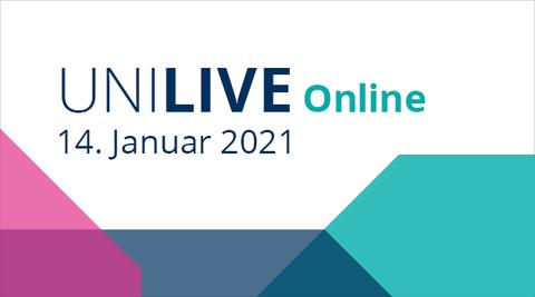 """Farbiger Hintergrund mit Aufschrift: """"Uni Live online, 14. Januar 2021"""""""