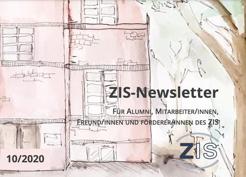 """Zeichnung eines Backsteingebäudes. Im Vordergrund Schriftzug: """"ZIS NEWSLETTER"""""""