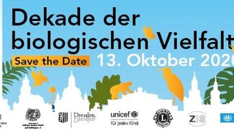 """Animation der Umrisse der historischen Altstadt Dresdens, darüber exotische Blätter und Tiere. In der Mitte die Aufschrift: """"Dekade der biologischen Vielfalt; Save the Date: 13.10.2020"""" und das Logo der UN"""
