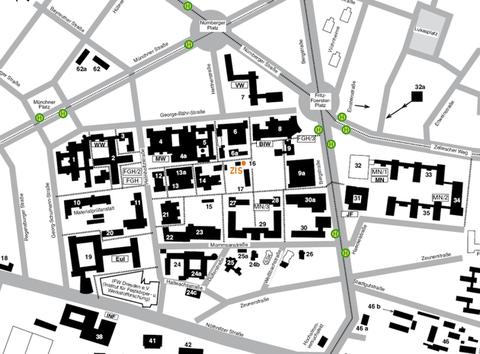 Lageplan des Campus mit der Position des ZIS