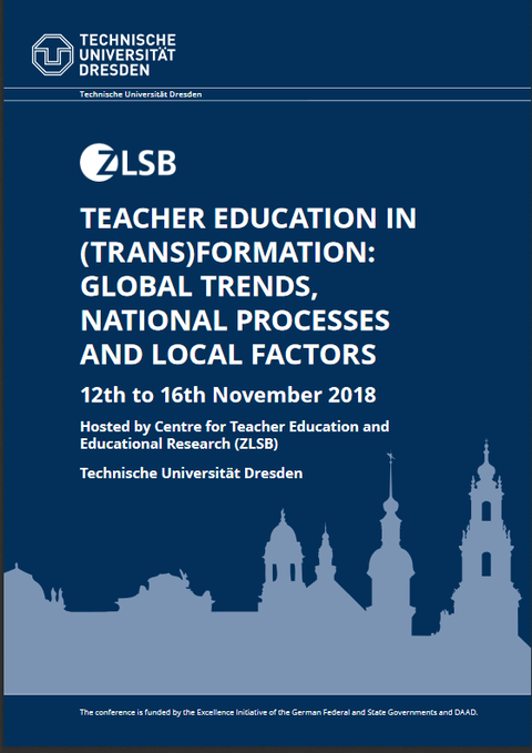 "Cover des Booklets zur Konferenz ""Teacher Education in (Trans)Formation: Global Trends, National Processes and Local Factors"", welche vom 12. bis 16.11.2018 stattfand"