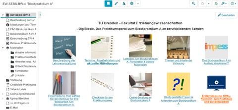 Screenshot vom OPAL Kurs, der das Blockpraktikum A im Lehramt an Berufsschulen begleitet