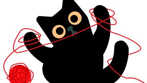 Grafik einer schwarzen Katze, die mit einem roten Faden spielt und sich darin verheddert hat