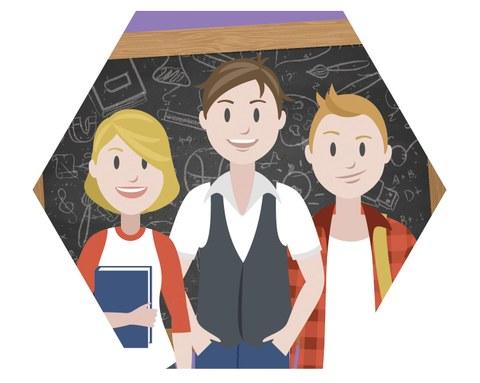 Sechseckige Grafik von 3 Personen