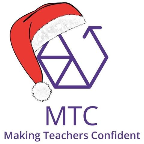 """Zu sehen ist das sechseckige MTC-Logo in der Fabe Lila mit einer Weihnachtsmannmütze. Darunter steht """"Making Teachers Confident"""""""