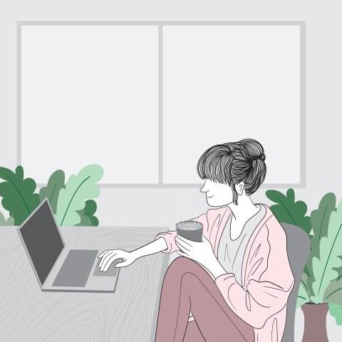 Auf der Grafik ist eine Frau zu sehen, die mit einem Kaffee in der Hand an einem Tisch sitzt. Vor ihr steht ein Laptop. Um sie herum sind Grünpflanzen.
