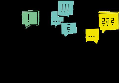 Die Illustration zeigt 3 viereckige Pixelmännchen, die in verschiedenfarbigen Sprechblasen Ausrufezeichen, Fragezeichen und Punkte stehen haben.