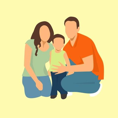 Auf der Illustration ist eine Familie, bestehend asu Mutter Vater und Kind zu sehen. Die Eltern haben sich zum Kind gehockt.