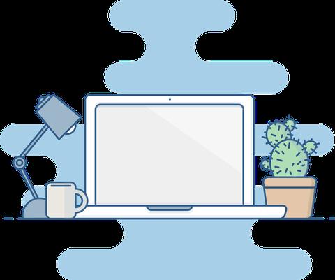 Grafik eines Laptoparbeitsplatzes mit einer Schreibtischlampe und einem Kaktus.