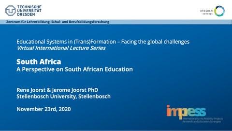 Das Bild zeigt eine Präsentationsfolie zur internationalen Vorlesungsreihe des ZLSB. Vortrag von Rene und Jerome Joorst PhD, A perspective on south african education