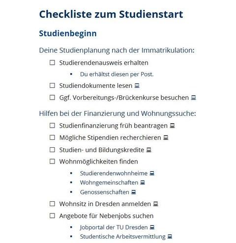 Der Scrteenshot zeigt die erste Seite der Checkliste zum Studienstart im Lehramt.