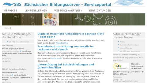 Screenshot der Webseite des Sächsischen Bildungsservers