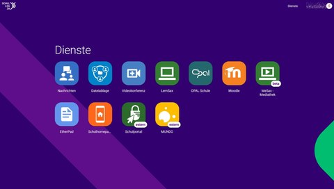 Bildschirmausschnitt: Dashboard von Schullogin