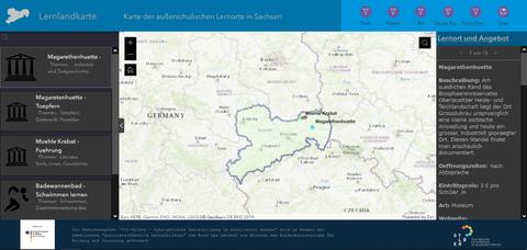 Screenshot eines Computerbildschirms. Darauf ist die Benutzeroberfläche einer digitalen Landkarte zu sehen.