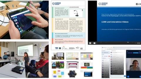 Abgebildet sind mehrere Angebote der Koordinierungsstelle Digitalisierung & BQL.Digital (Video-Tutorials, Mediensteckbriefe, Online-Sprechstunden, Stationen-Workshops, Live-Veranstaltungen, Selbstlernmodule)