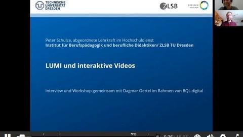 Screenshot aus dem interaktiven Video zu H5P und Lumi - zu sehen ist die Startfolie mit Titel und die zwei Dozent:innen