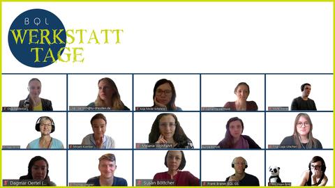 Abbgebildet sind Personen des Teams BQL GS in einer Videokonferenz, die im Rahmen der digitalen Werkstatt-Woche 2021 stattgefunden hat