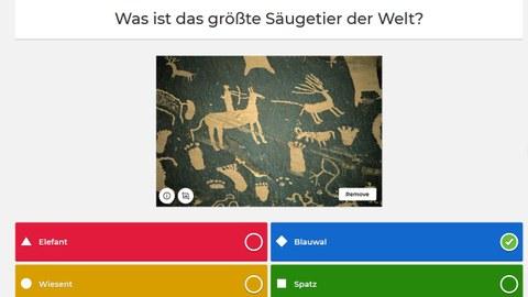 Abgebildet ist ein Kahoot-Quiz mit der Quizfrage, wie das größte Säugeteier der Welt heißt.