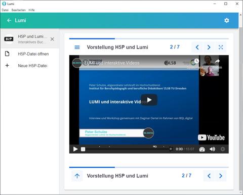 Software Lumi mit einem interaktiven Video