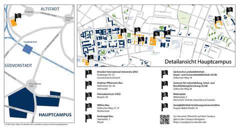 Bild der Campusübersicht zu den wichtigsten Orten in der Berufsbegleitenden Qualifizierung von Lehrkräften an der TU Dresden (Seiteneinstiegsprogramm).
