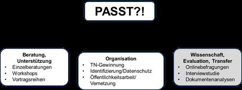 Grafik Abbildung der Aufgaben im Projekt PASST?!