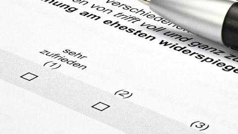 Foto Ausschnitt eines Fragebogens